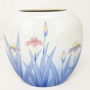 Vtg Otagiri Pastel Iris Oval Vase